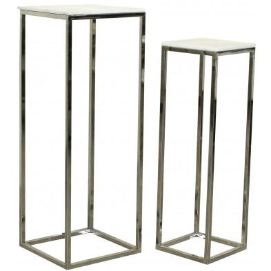 Lot d e2 tables  d'appoint argenté design en acier inoxydable: L. 40 x P. 40 - 95 x H. 110 cm  collection Levanto Richmond Interiors