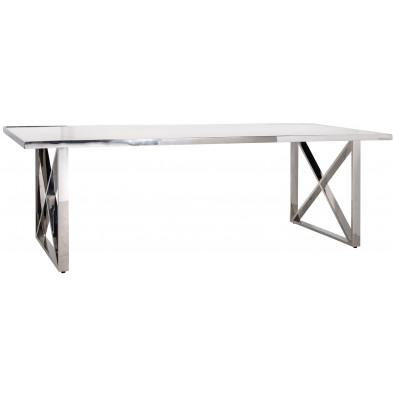 Table de salle à manger contemporaine argenté design en acier inoxydable L. 240 x P. 94 x H. 78 cm  collection Levanto Richmond Interiors