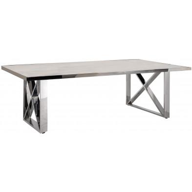 Table basse argenté design en acier inoxydable L. 130 x P. 80 x H. 45 cm collection Levanto Richmond Interiors