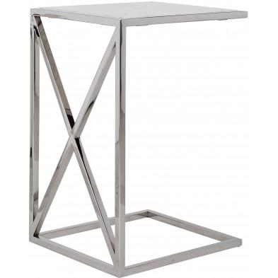 Table d'appoint argenté design en acier inoxydable L. 45 x P. 40 x H. 66 cm collection Mona Richmond Interiors