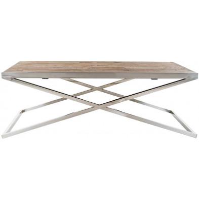 Table basse argenté design en bois et  acier inoxydable  L. 130 x P. 80 x H. 45 cm  collection Redmont Richmond Interiors