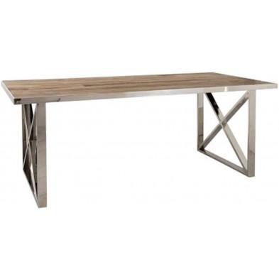 Table de salle à manger contemporaine argenté design en acier inoxydable et bois massif  L. 240 x P. 100 x H. 78 cm collection Redmont Richmond Interiors