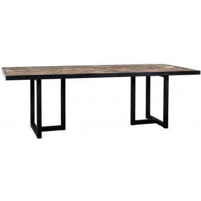 Table de salle à manger contemporaine marron industriel en acier et bois massif   L. 200 x P. 100 x H. 76 cm collection Herringbone Richmond Interiors