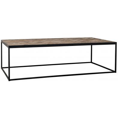 Table basse design marron industriel en acier : L. 140 x P. 70 x H. 40 cm  collection Herringbone Richmond Interiors