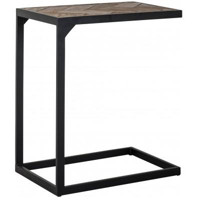 Table d'appoint marron industriel en acier L. 55 x P. 35 x H. 65 cm collection Herringbone Richmond Interiors