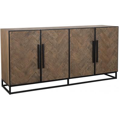 Buffet - bahut - enfilade design marron contemporain en acier et bois massif L. 180 x P. 45 x H. 86 cm collection Herringbone Richmond Interiors