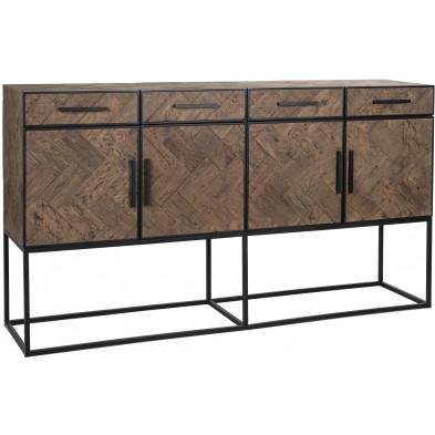Buffet - bahut - enfilade design marron contemporain en acier et bois massif  L. 200 x P. 47 x H. 110 cm  collection Herringbone Richmond Interiors