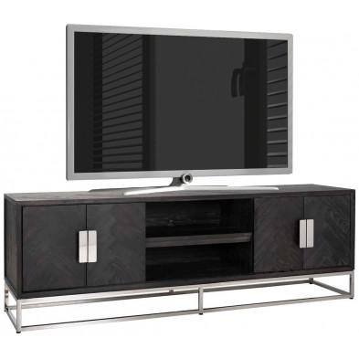 Meuble tv contemporain argenté design en acier inoxydable  et bois massif : L. 185 x P. 43 x H. 60 cm collection Blackbone-Silver Richmond Interiors