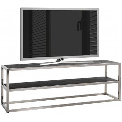 Meuble tv contemporain argenté design en acier inoxydable L. 150 x P. 40 x H. 50 cm collection Blackbone-Silver Richmond Interiors