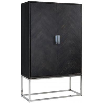 Armoire 2 portes argenté design en acier inoxydable et bois massif  L. 108 x P. 45 x H. 175 cm collection Blackbone-Silver Richmond Interiors