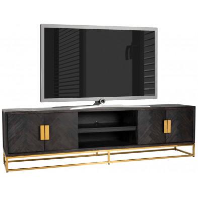 Meuble tv contemporain noir design en acier inoxydable et bois massif  L. 220 x P. 43 x H. 60 cm  collection Blackbone-gold Richmond Interiors