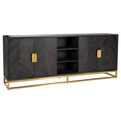 Buffet - bahut - enfilade noir design en acier inoxydable et bois massif chêne L. 225 x P. 45 x H. 90 cm   collection Blackbone-gold Richmond Interiors
