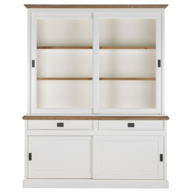 Vitrine blanc contemporain en bois massif chêne et pin L. 173 x P. 50 x H. 215 cm collection Whitewood Richmond Interiors