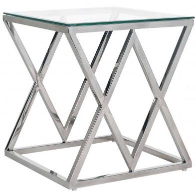 Table basse  argenté design en acier inoxydable et verre  L. 55 x P. 55 x H. 60 cm  collection Paramount Richmond Interiors