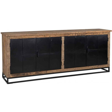 Buffet - bahut - enfilade  marron industriel en acier  et bois massif L. 200 x P. 46 x H. 80 cm  collection Raffles Richmond Interiors