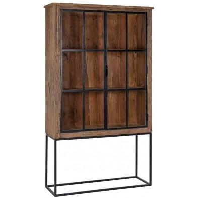 Armoire 2 portes marron contemporain en bois massif recyclé L. 115 x P. 40 x H. 200 cm collection Raffles Richmond Interiors