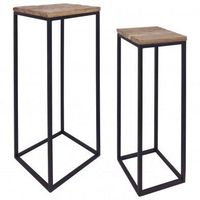 Console chêne industriel en acier  et  bois massif L. 40 x P. 95 x H. 110 cm collection Raffles Richmond Interiors