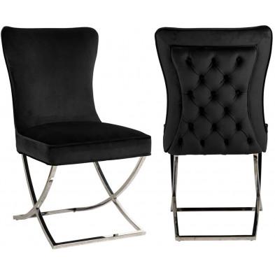 Chaise  de salle à manger  Argenté Design en Acier inoxydable L. 54 x P. 70 x H. 93.5 cm collection Scarlette Richmond Interiors