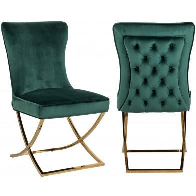 Chaise design en velours vert avec piètement en Acier inoxydable L. 54 x P. 70 x H. 93.5 cm  collection Scarlette Richmond Interiors