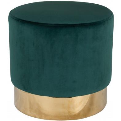 Pouf et tabouret vert design en acier inoxydable L. 42 x P. 42 x H. 41.5 cm collection Lilou Richmond Interiors