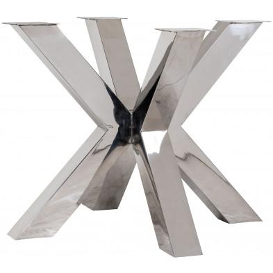Pieds de table argenté industriel en acier inoxydable  L. 95 x P. 95 x H. 75 cm collection Bodhi-silver Richmond Interiors