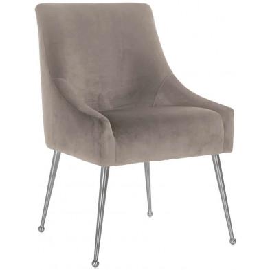 Chaise de salle à manger moderne Taupe Design en Acier inoxydable L. 56 x P. 61.5 x H. 86 cm collection Indy Richmond Interiors