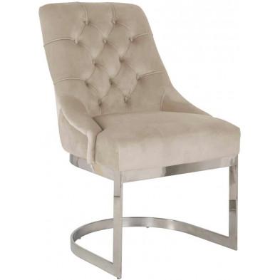 Chaise de salle à manger Beige Design en Acier inoxydable L. 57,5 x P. 64 x H. 92,5 cm  collection Chaya Richmond Interiors