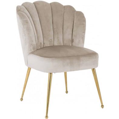 Chaise de salle à manger moderne Beige Design en Acier inoxydable L. 66 x P. 64 x H. 86 cm collection Pippa Richmond Interiors