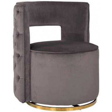 Fauteuil taupe design en acier inoxydable  L. 72 x P. 69 x H. 80 cm collection Jamie Richmond Interiors