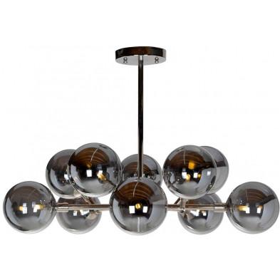 Suspension argenté contemporain en acier et verre  L. 80 x P. 80 x H. 60 cm collection Riley Richmond Interiors