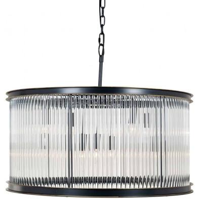 Suspension argenté contemporain en acier et verre  collection  L. 82 x P. 82 x H. 66 cm Phyllon Richmond Interiors