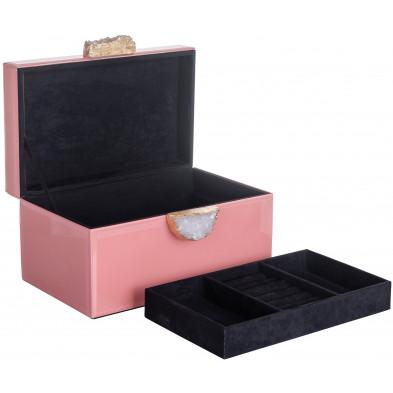 Boite a bijoux rose  contemporain en bois mdf . 30.5 x P. 15 x H. 18 cm collection Maisie Richmond Interiors