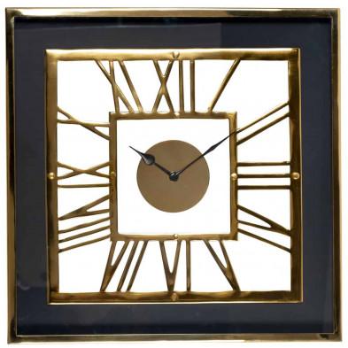Horloge murale gris contemporain en acier inoxydable L. 46 x P. 6 x H. 46 cm  collection Trayson Richmond Interiors