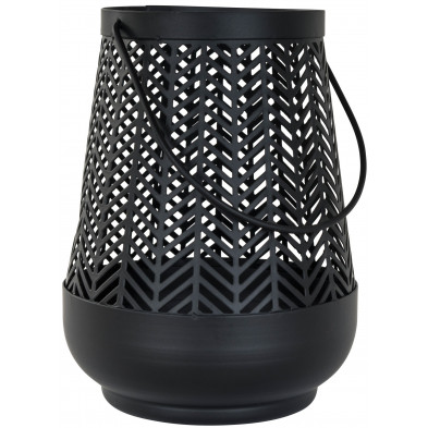 Bougeoir et chandelier noir moderne en acier L. 12.5 x P. 12.5 x H. 16 cm collection Lize Richmond Interiors