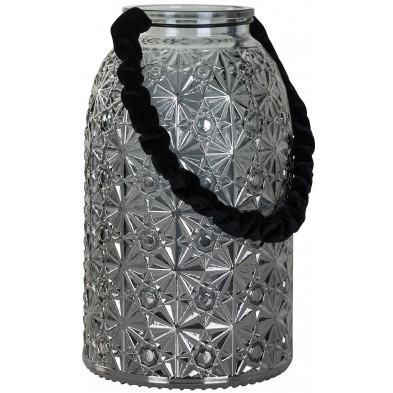 Bougeoir et chandelier argenté moderne en acier L. 14 x P. 14 x H. 24 cm  collection Livia Richmond Interiors