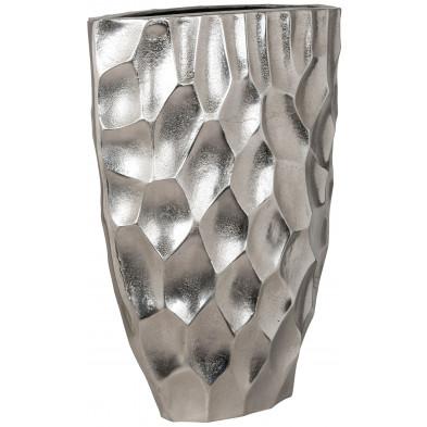 Vase argenté contemporain en aluminium L. 38 x P. 18 x H. 50 cm collection Luc Richmond Interiors