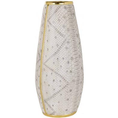 Vase argenté contemporain en polyrésine  L. 22 x P. 19 x H. 47 cm collection Jinte Richmond Interiors