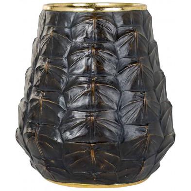 Vase noir contemporain en polyrésine L. 23.5 x P. 23.5 x H. 26 cm  collection Leah Richmond Interiors
