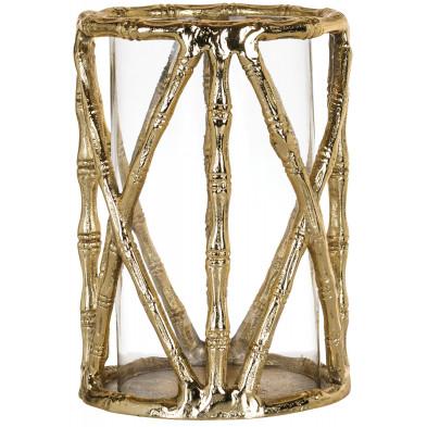 Bougeoir et chandelier or design en aluminium L. 18 x P. 18 x H. 26 cm collection Lara Richmond Interiors