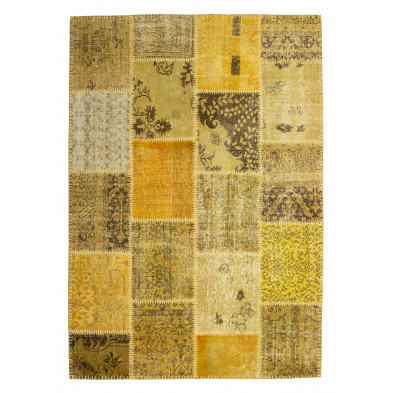 Tapis moderne tissé à la main en laine coloris jaune et or L. 170 x P. 120 x H. 0,8 cm Collection Nidderau