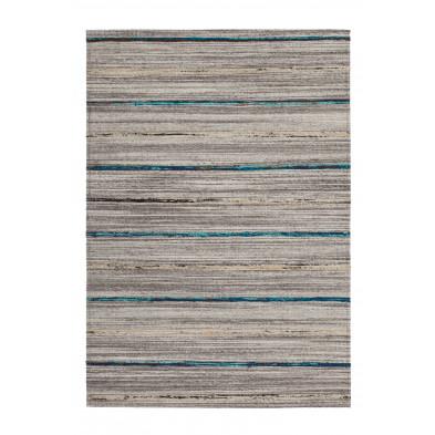 Tapis retro & patchwork bleu vintage tissé à la main en 60% laine + 20% coton et 20% soie artificielle 170 cm de largeur collection Sobreda