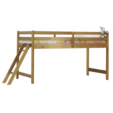 Lit mezzanine 90x200 cm contemporain marron en bois massif pin Collection Genoveffa