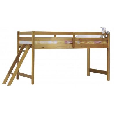 Lit mezzanine 90x190 cm contemporain marron  en bois massif Collection Genoveffa