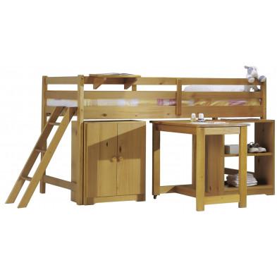Lit mezzanine 90x200 cm contemporain marron en bois massif Collection Genoveffa