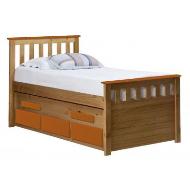 Lit adulte 90x190 cm contemporain orange en bois massif collection Luby