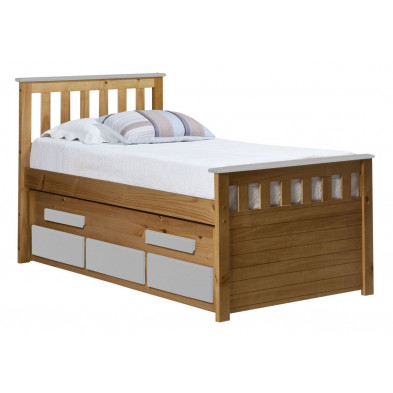 Lit adulte 90x200 cm contemporain blanc en bois massif Collection Luby