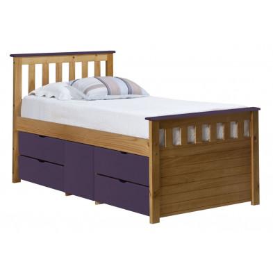 Lit adulte 90x190 cm contemporain violet  en bois  massif collection Izel