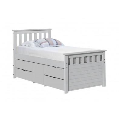 Lit adulte 90x200 cm contemporain blanc en bois massif Collection Izel