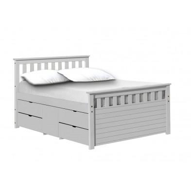 Lit adulte 150x210 cm blanc contemporain en bois massif collection Izel