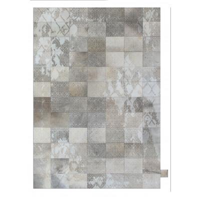 Tapis vintage en 50% cuir véritable et 50% polyester gris avec des motifs cubisme L. 240 x P. 175 x H. 1 cm Collection Breanais